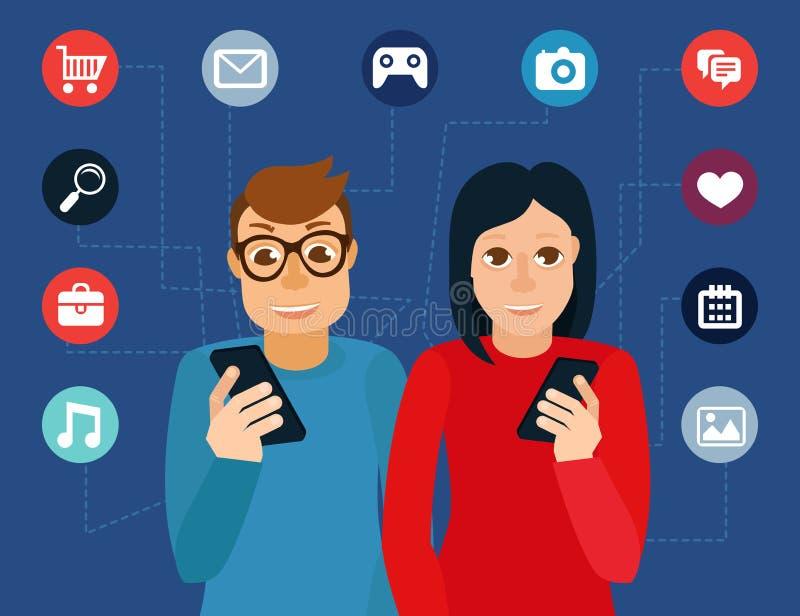 För massmediaböjelse för vektor socialt begrepp stock illustrationer