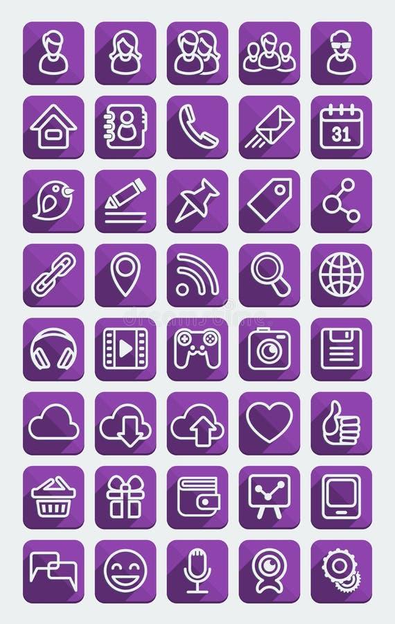 För massmedialilor för plana symboler social uppsättning royaltyfri illustrationer