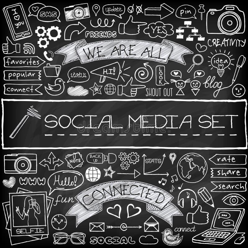 För massmediasymboler för klotter social uppsättning med den svart tavlan