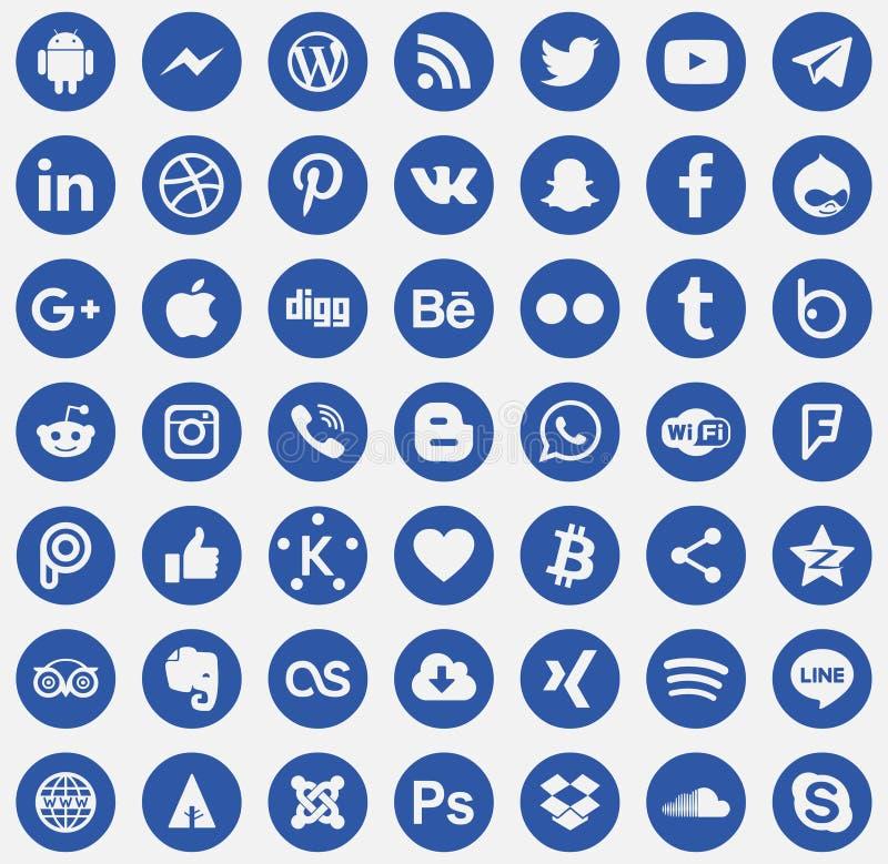 För massmediasymboler för nedladdning social vektor royaltyfri illustrationer