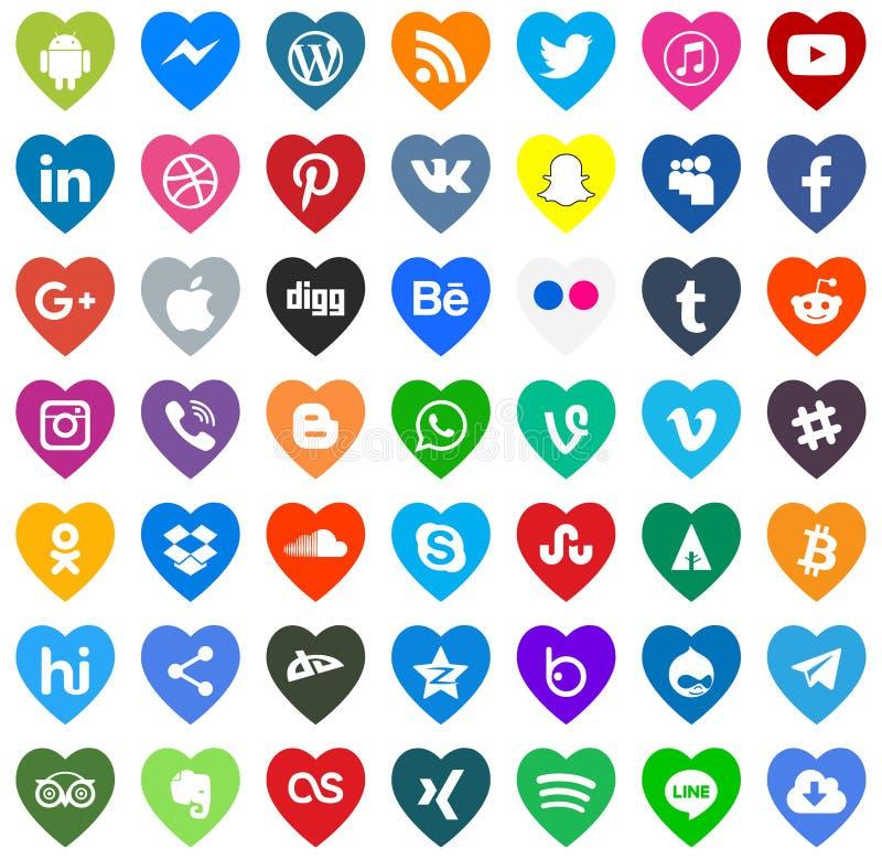 För massmediasymboler för nedladdning social vektor för färg royaltyfri illustrationer