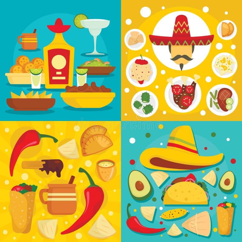 För matbaner för taco mexikansk uppsättning, plan stil royaltyfri illustrationer