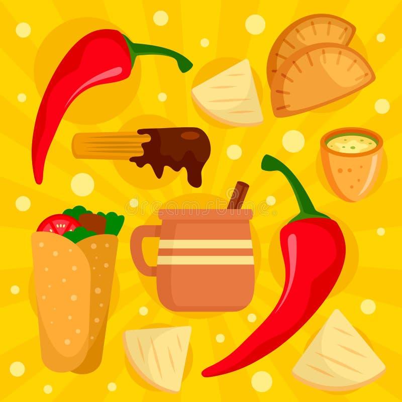 För matbegrepp för chili mexikansk bakgrund, plan stil vektor illustrationer
