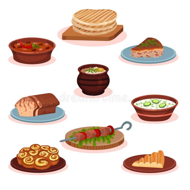 För matdisk för bulgarisk kokkonst nationell uppsättning, traditionell sund läcker matvektorillustration på en vit bakgrund royaltyfri illustrationer