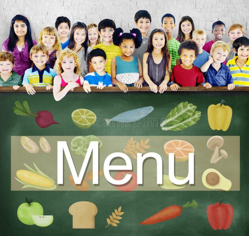 För matdryck för meny primat begrepp för alternativ för val för lista arkivfoto