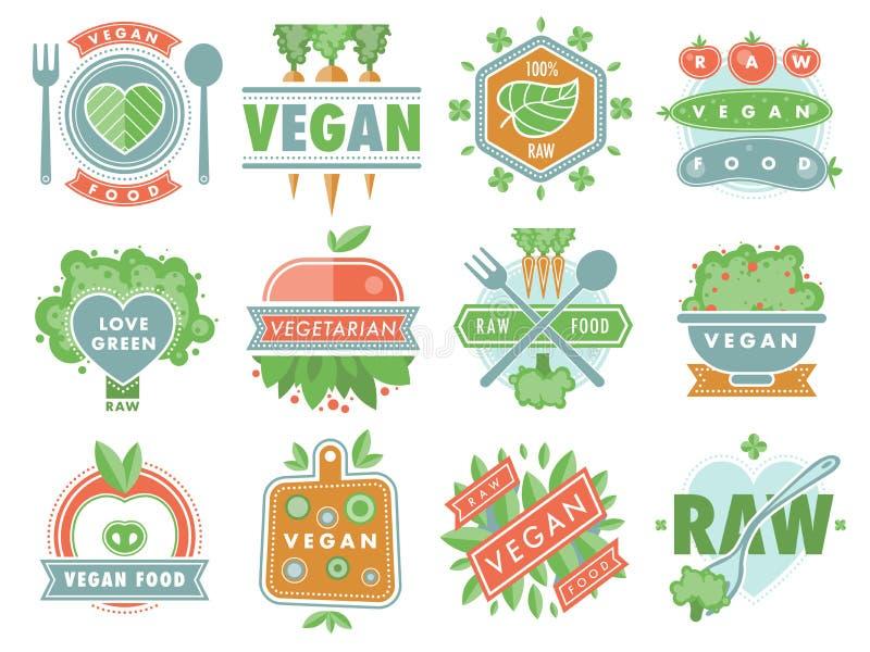 För mateco för organisk strikt vegetarian bantar sunda etiketter för emblem för logo för restaurang med vegetarisk rå naturmat de stock illustrationer