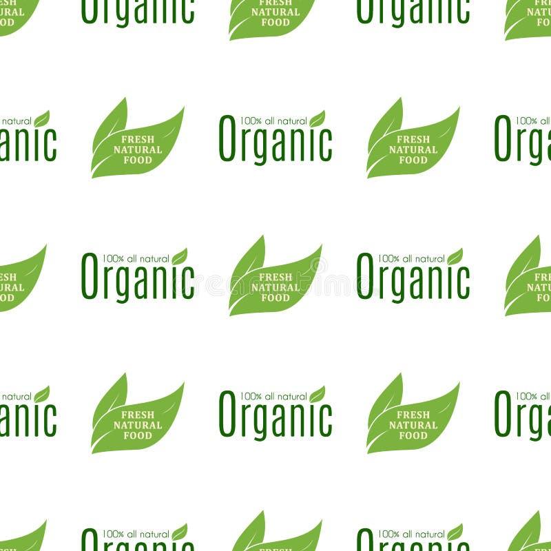 För matecoen för den organiska strikt vegetarian bantar den sunda naturen för etiketter för restaurangen för modellbakgrund för p stock illustrationer