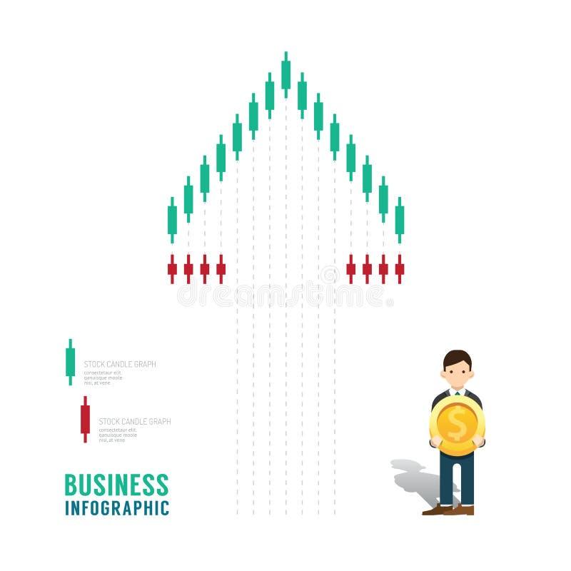 För materielstearinljus för affär infographic moment för begrepp för graf för diagram till su royaltyfri illustrationer