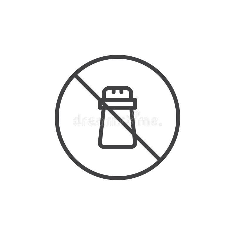 För matetikett för natrium fri symbol för översikt royaltyfri illustrationer