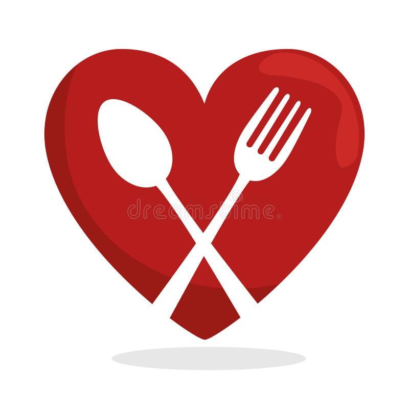 för mathjärta för symbol sund gaffel för sked royaltyfri illustrationer