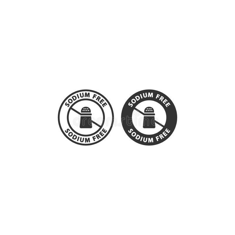 För matingrediens för natrium fri uppsättning för symbol för etikett för cirkel stock illustrationer