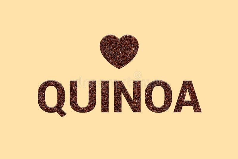 För matkorn för röd Quinoa toppen text för textur med hjärta på bakgrund för pastellfärgad färg arkivfoto