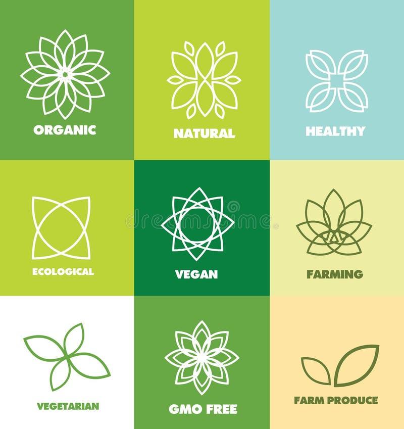 För matlogo för abstrakt blomma organiskt naturligt emblem stock illustrationer