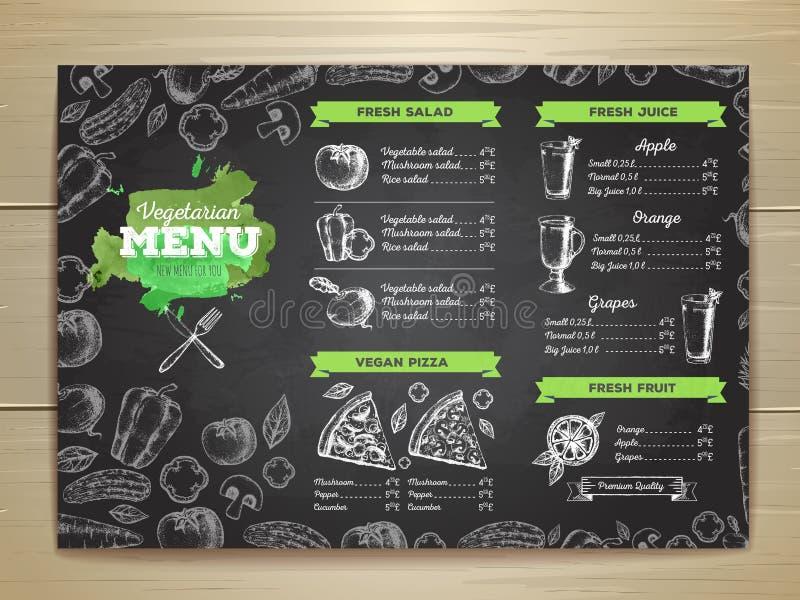 För matmeny för tappning vegetarisk design stock illustrationer