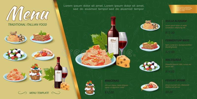 För matmeny för hand utdraget italienskt begrepp vektor illustrationer