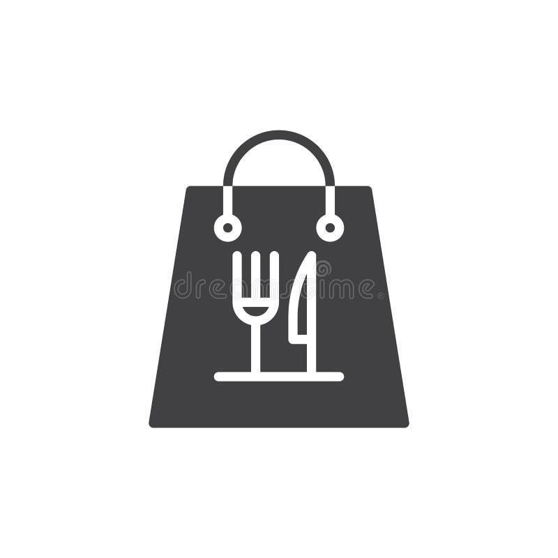 För matpåse för tagande bort pappers- vektor för symbol vektor illustrationer