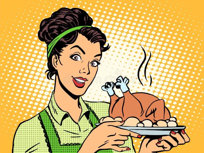 För maträttfågel för kvinna varma potatisar vektor illustrationer