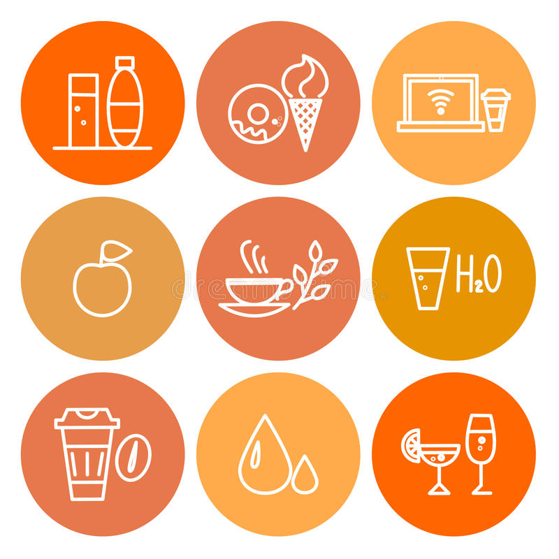 För matsymbol för vektor färgrik uppsättning på vit bakgrund royaltyfri illustrationer