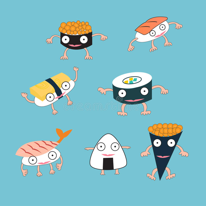 För mattecknad film för sushi japanskt monster vektor illustrationer