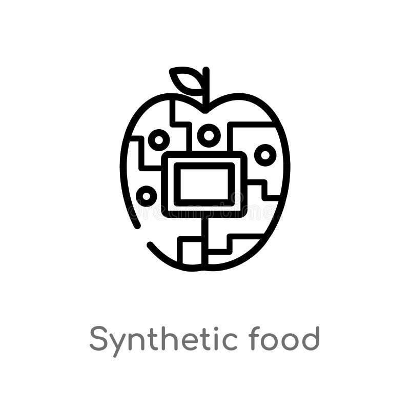 för matvektor för översikt syntetisk symbol isolerad svart enkel linje beståndsdelillustration från konstgjort intellegencebegrep stock illustrationer