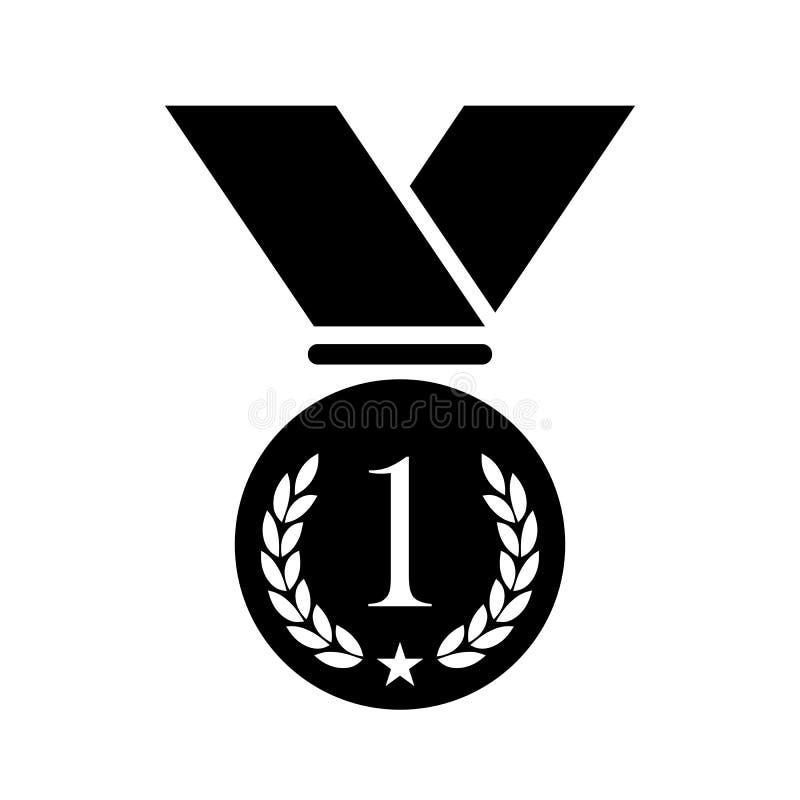 För medaljvektor för nummer ett symbol vektor illustrationer