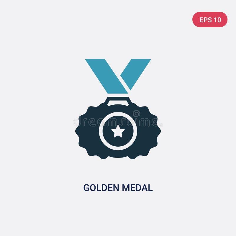 För medaljvektor för två färg guld- symbol från sportbegrepp det isolerade blåa guld- symbolet för medaljvektortecknet kan vara b stock illustrationer
