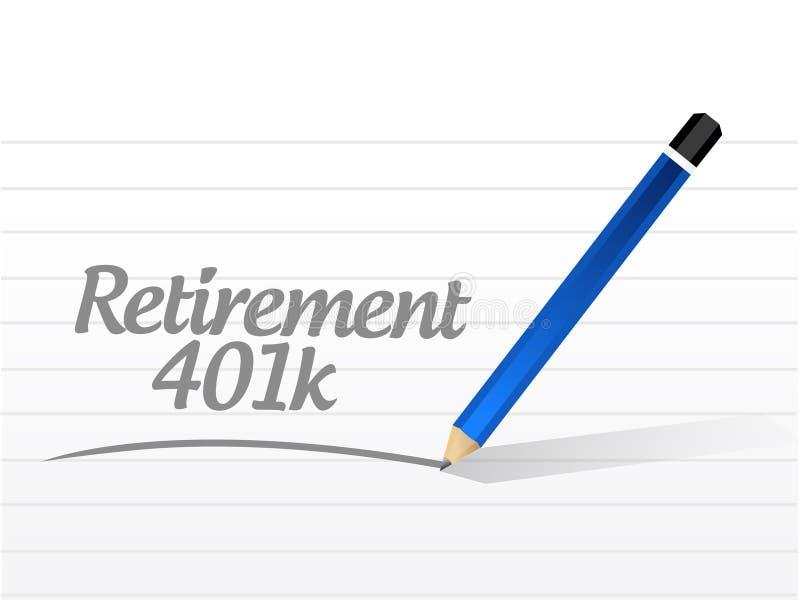 för meddelandetecken för avgång 401k begrepp stock illustrationer