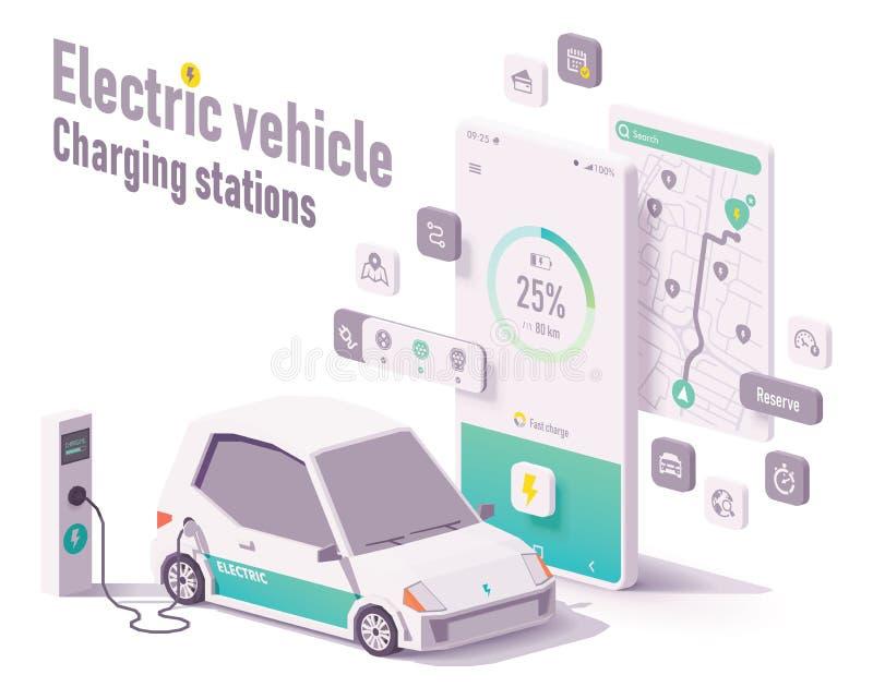 För medeluppladdning för vektor elektrisk app för stationer stock illustrationer