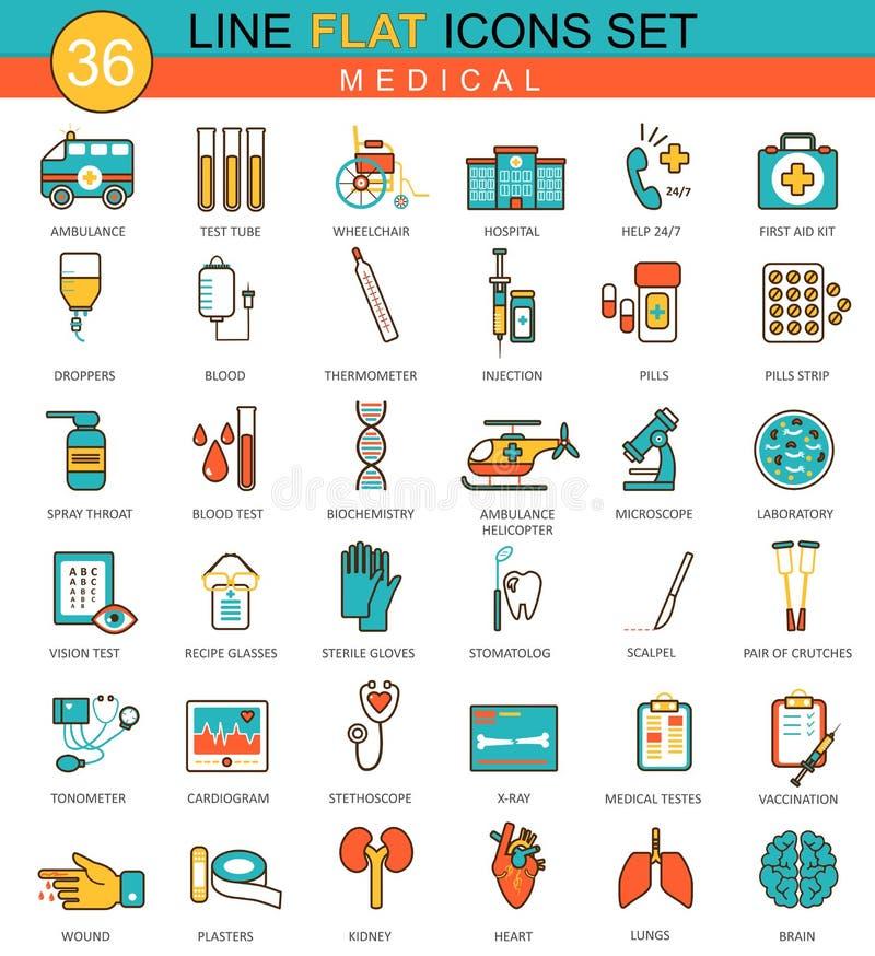 För medicinlägenhet för vektor medicinsk linje symbolsuppsättning Modern design för elegant stil för rengöringsduk royaltyfri illustrationer