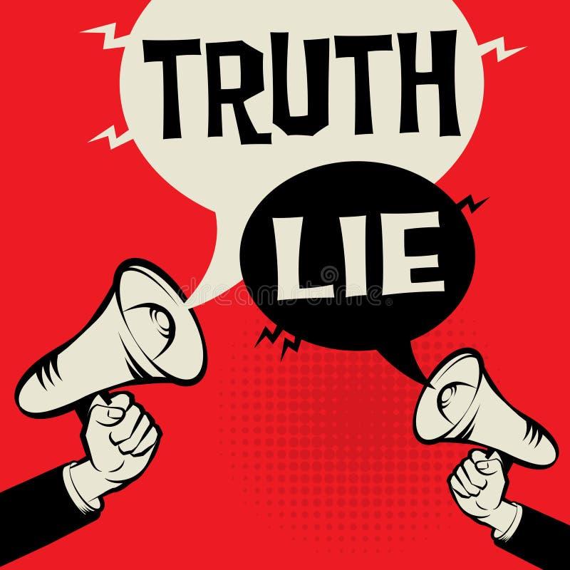För megafonhandaffärsidé för sanning lögn kontra vektor illustrationer