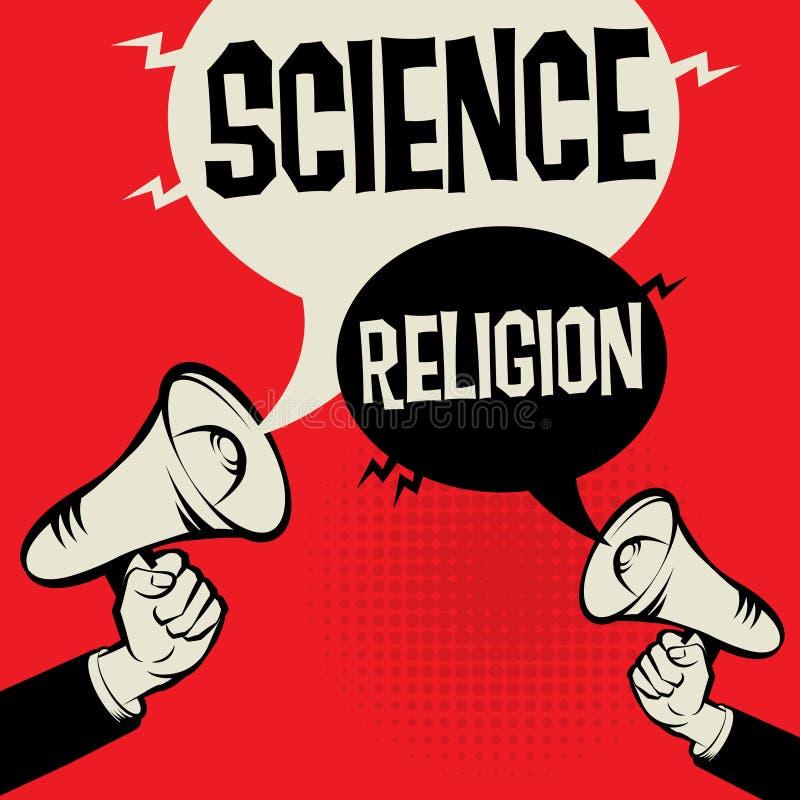 För megafonhandaffärsidé för vetenskap religion kontra stock illustrationer