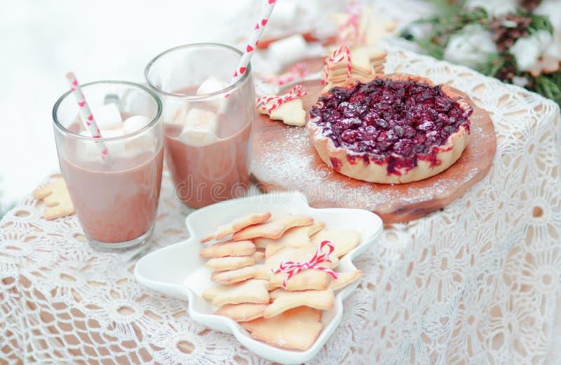 För mellanmålbär för jul dricker festliga kakor och marshmallower för paj i kakao arkivbild