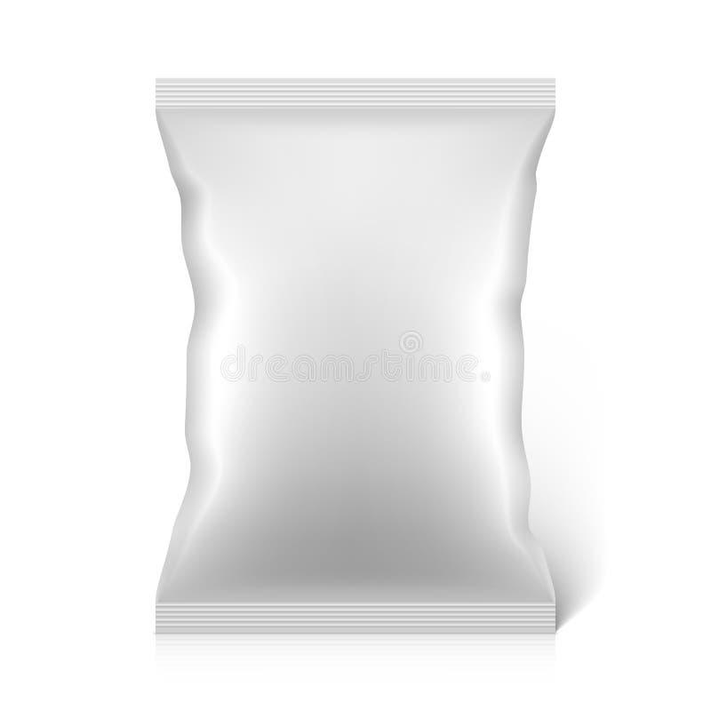 För mellanmålmat för vit förpackande påse för tom folie royaltyfri illustrationer