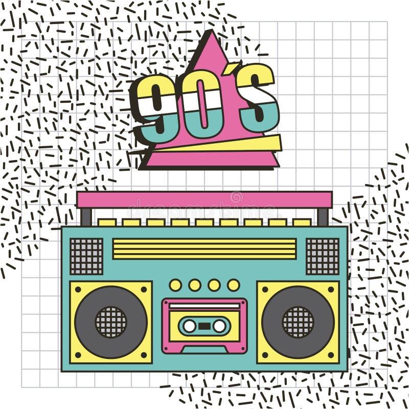 För memphis för bandspelare90-talmusik bakgrund stil stock illustrationer