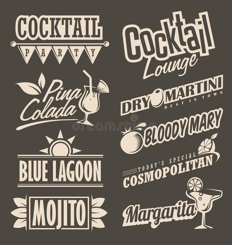 För menydesign för cocktailbar retro begrepp royaltyfri illustrationer