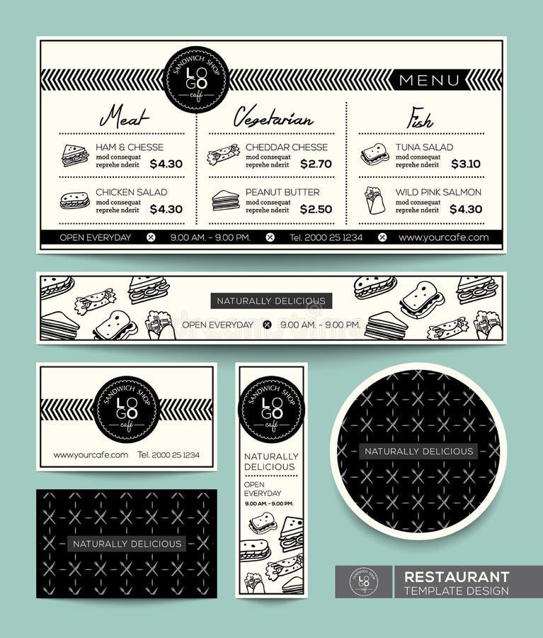 För menyrestaurang för smörgås fastställd mall för grafisk design vektor illustrationer