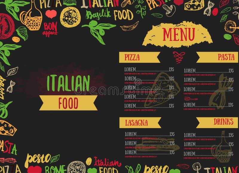 För menyvektor för vektor italiensk mall, med olikt livsmedel: Drog pasta, grönsaker, pizza och champinjoner och hand royaltyfri illustrationer