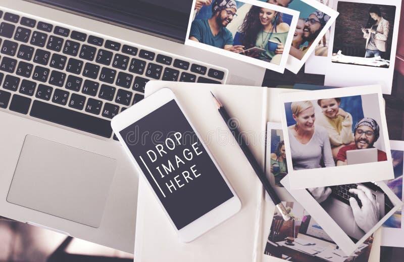 För Merketing för bildfotoannonsering begrepp reklamfilm royaltyfria foton