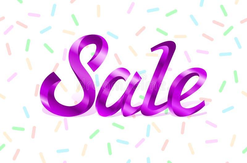 För metallbokstäver för vektorn märker det purpurfärgade avtalet för erbjudandet för priset för försäljningen mallklistermärkear  royaltyfri illustrationer