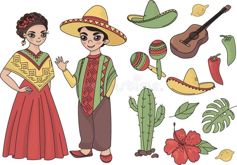 För MEXICO för gemkonster bilder för illustration för uppsättning för vektor färg vektor illustrationer