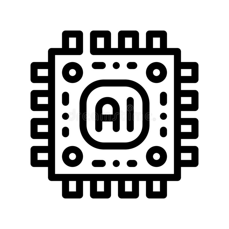 För mikrochipsvektor för konstgjord intelligens symbol för tecken royaltyfri illustrationer