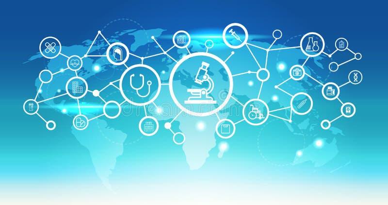 För mikroskopsymbol för världskarta lägenhet för bakgrund för blått för begrepp för anslutning för nätverk för sjukvård för futur stock illustrationer