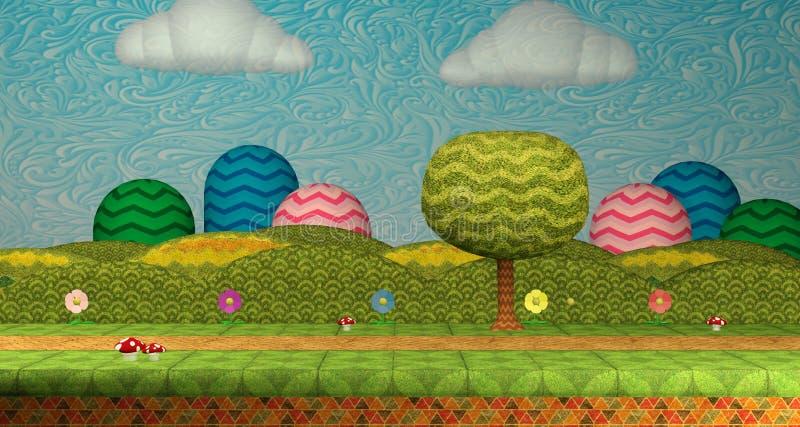 för miljönivå för videospel 3D skärmdump/illustration för bakgrund 3D royaltyfri illustrationer