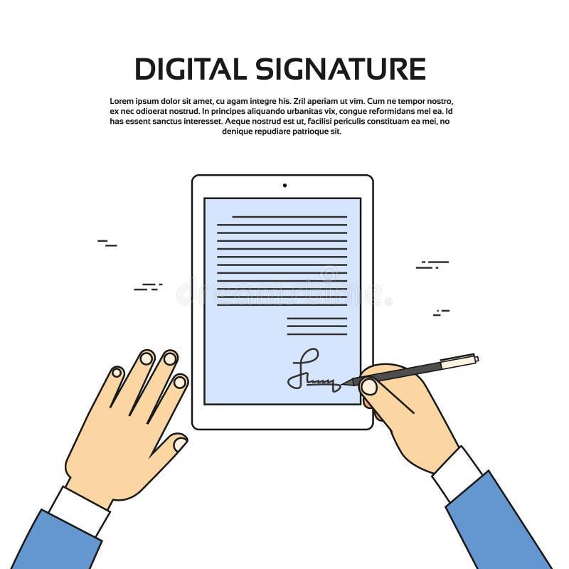 För minnestavladator för Digitalt häfte affärsman Hands Sign Up vektor illustrationer