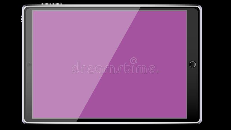 För minnestavladator för stor svart realistisk mobil smart handlag-känslig slank ram med metallframsidan med glansigt purpurfärga royaltyfri illustrationer