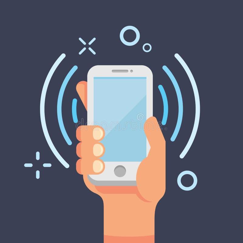 För mobiltelefonlägenhet för hand hållande illustration för vektor Kalla smartphonelägenhetstil Mobil konversation, bruksmobiltel stock illustrationer