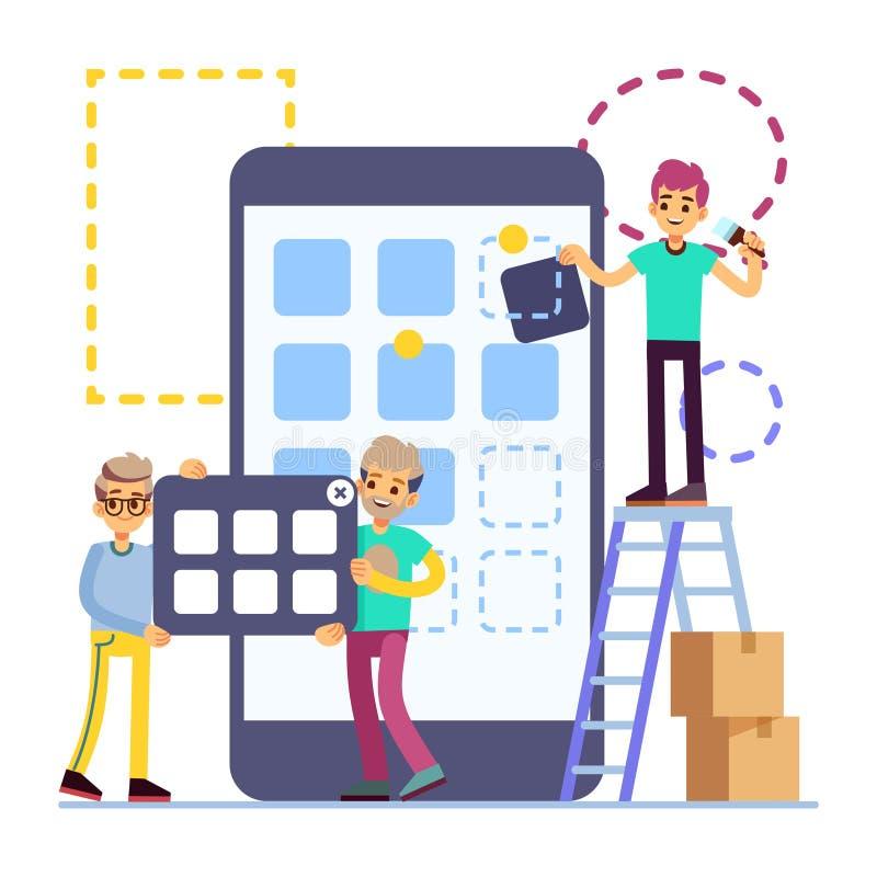 För mobiltelefonui för folk framkallande design Begrepp för lägenhet för vektor för mobiltelefonapp-teknologi som isoleras på vit vektor illustrationer