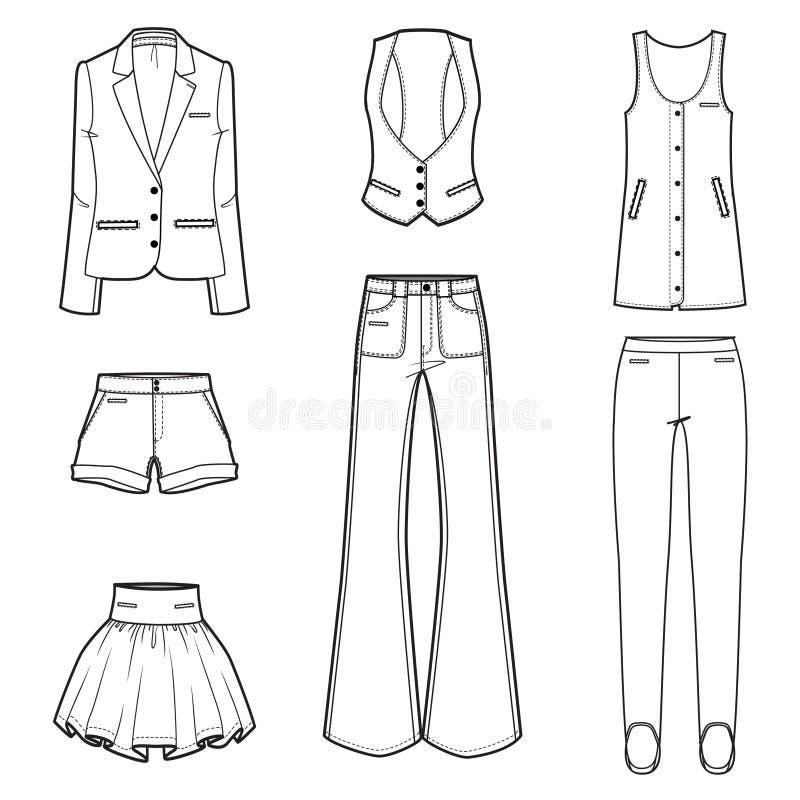 För modekläder för kvinnor s set för vektor stock illustrationer