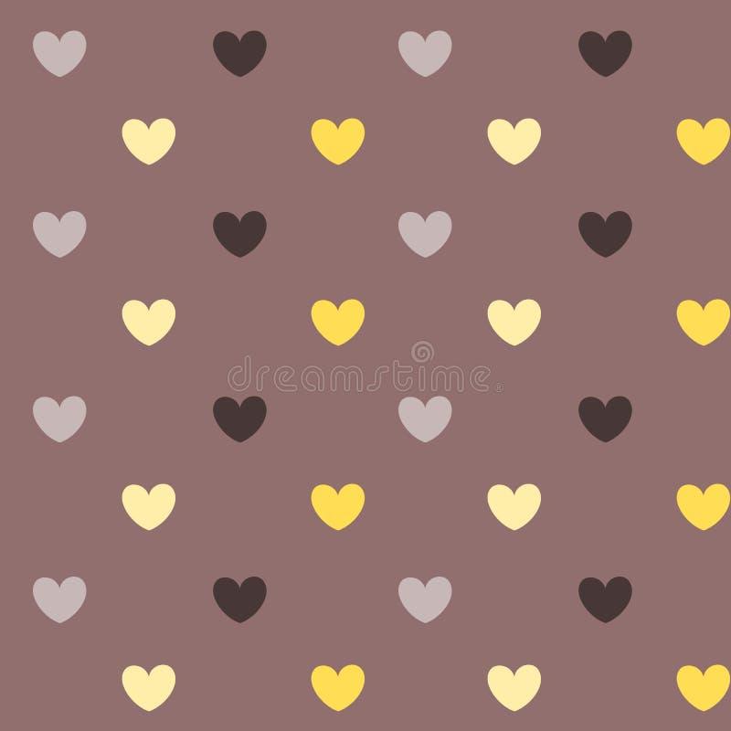 För modellbakgrund för romantisk pastellfärgad hjärta sömlös illustration stock illustrationer