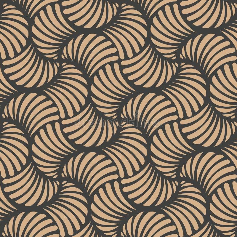 För modellbakgrund för vektor arg virvel för damast sömlös retro kurva för våg spiral Elegant lyxig brun signaldesign för tapeter royaltyfri illustrationer